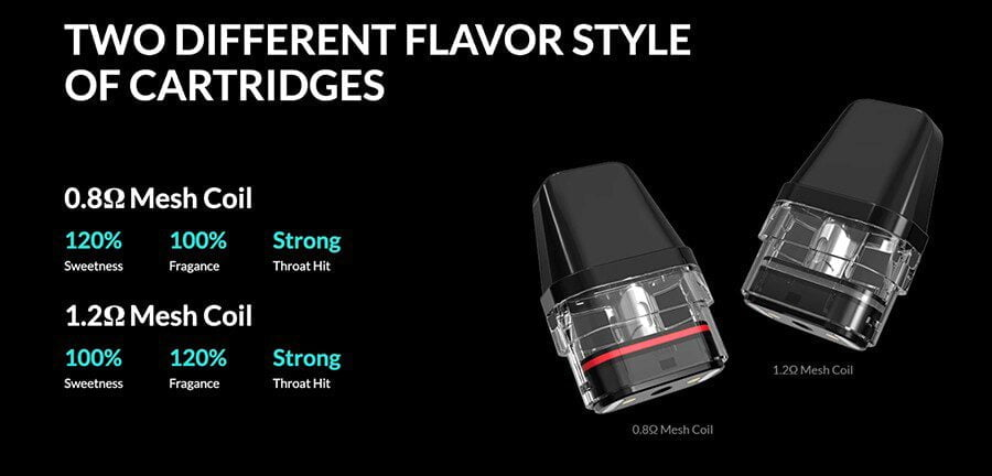 Vape kit comes with two different flavours of cartridge style
